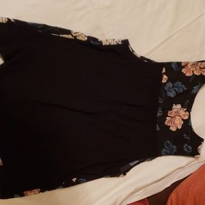 Merona Tops - Black flowy top with floral print.